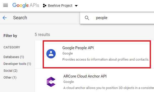 search for google people api