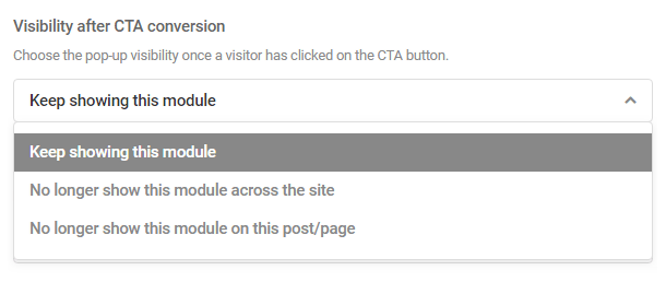 Options for module visibility after CTA click in Hustle module