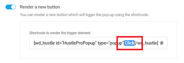 Shortcode to render the trigger element for a Hustle module