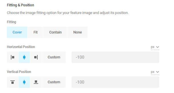 feature image fitting and position