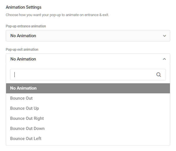 Animation options in Hustle modules