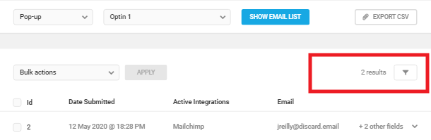 Filter submissions in Hustle Opt-In email list