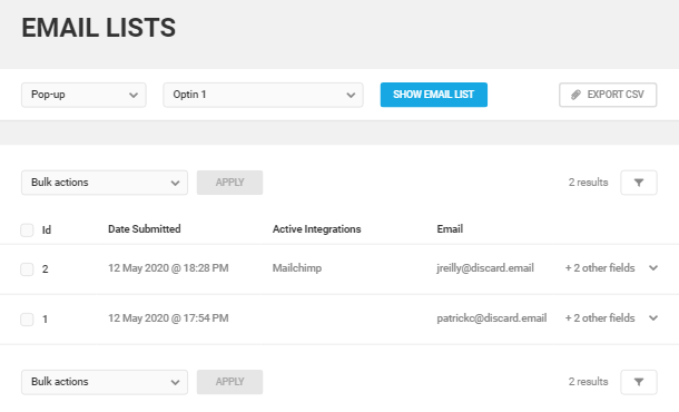 Opt-In email list in Hustle