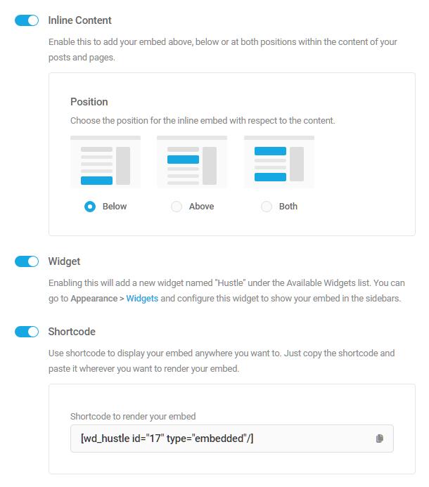Display options in Hustle embed module