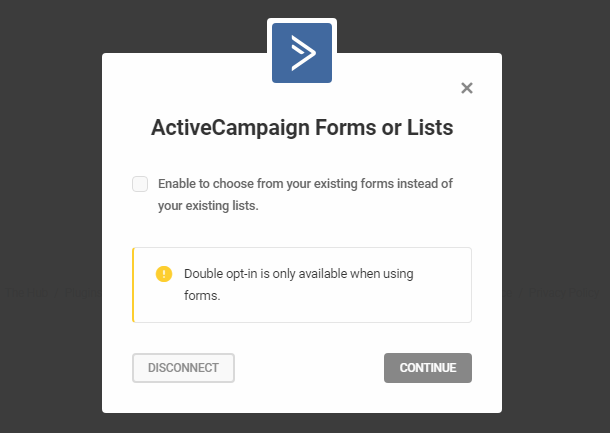 Select ActiveCampaign lists or forms in Hustle opt-in module