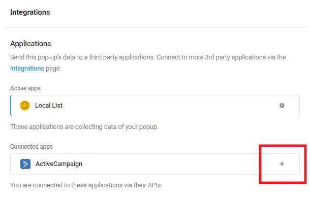 Select ActiveCampaign integrated app in Hustle opt-in module