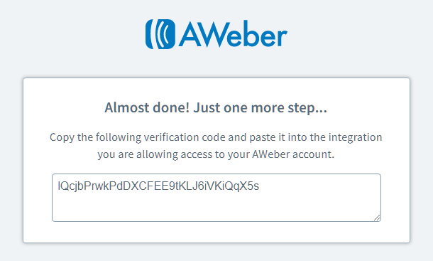 Authorization code for Aweber integration with Hustle
