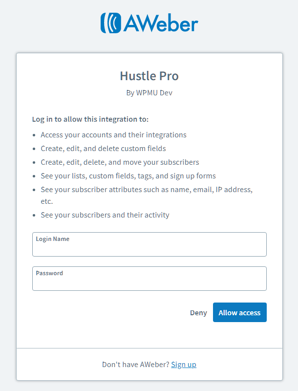 Authorize Aweber integration with Hustle