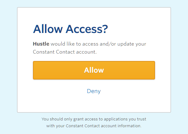 Allow Constant Contact access for integration with Hustle
