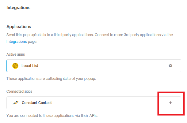Select Constant Contact integrated app in Hustle opt-in module