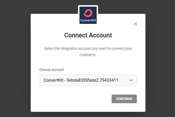 Connect to ConvertKit account in Hustle opt-in module