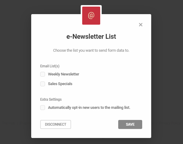 Connect to e-Newsletter lists in Hustle opt-in module