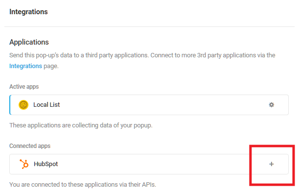 Select Hubspot integrated app in Hustle opt-in module