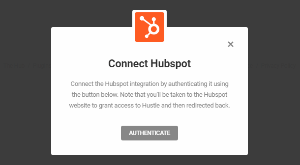 Connect to Hubspot account in Hustle opt-in module