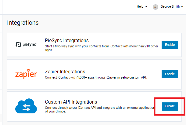 Step 2 to create new app at iContact for integration with Hustle