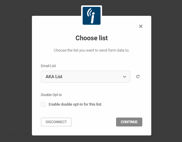Select iContact list in Hustle opt-in module