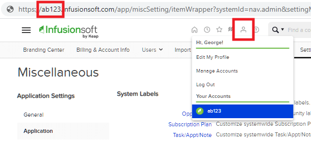 Get InfusionSoft account name for integration with Hustle