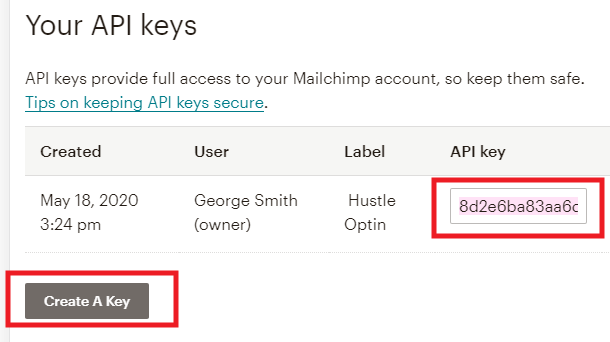 Create new Mailchimp API key for integration with Hustle