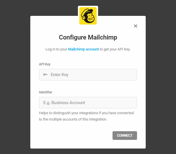 Connect to Mailchimp account in Hustle opt-in module