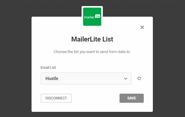 Select MailerLite list in Hustle opt-in module