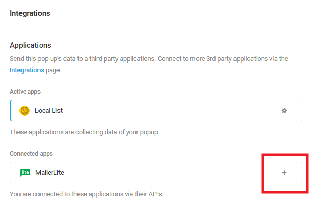 Select MailerLite integrated app in Hustle opt-in module