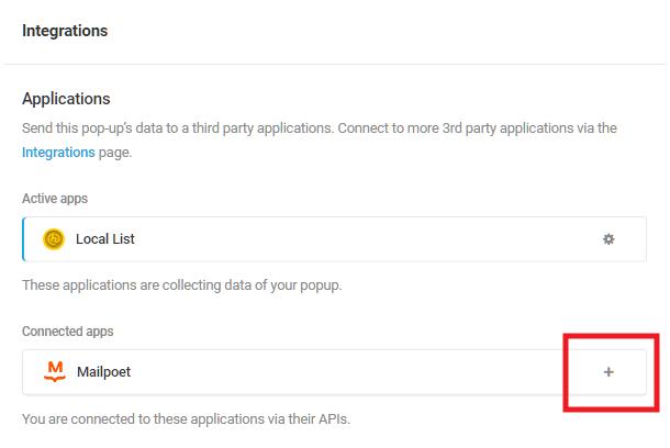 Select Mailpoet integrated app in Hustle opt-in module