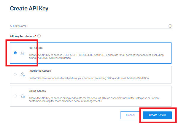 Create new SendGrid API key for integration with Hustle