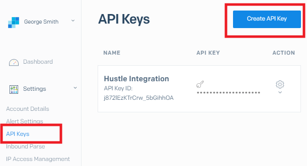 Get SendGrid API key for integration with Hustle