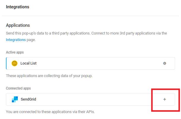 Select SendGrid integrated app in Hustle opt-in module