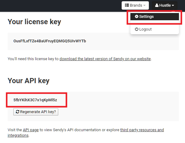 Get Sendy API key for integration with Hustle