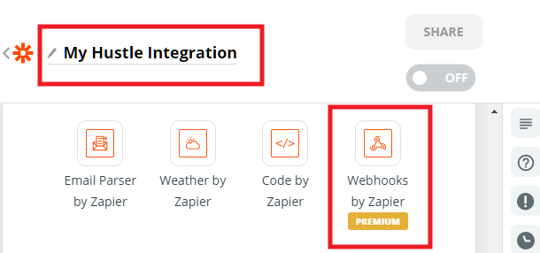 Name a new Zapier webhook in Hustle opt-in module