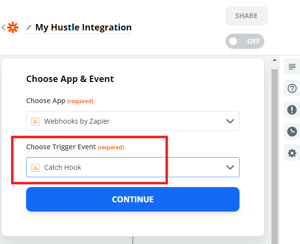Select trigger for Zapier webhook in Hustle opt-in module