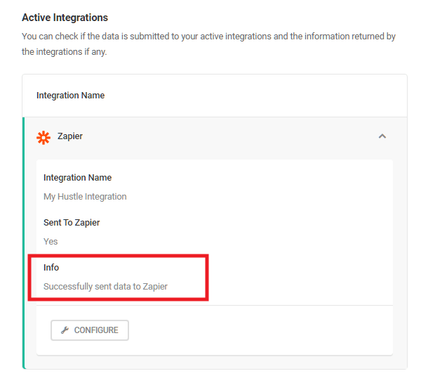 Verify Zapier submission in Hustle email list