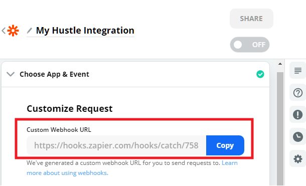 Copy Zapier webhook URL to Hustle opt-in module