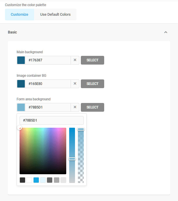 Customizing a pre-made color palette in Hustle modules