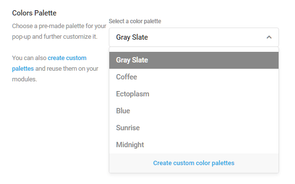 Color options in Hustle modules
