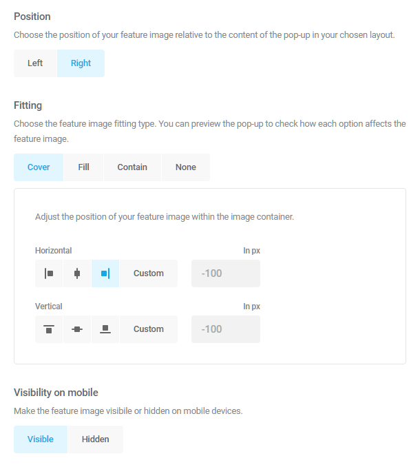 Featured image options in Hustle module appearance settings
