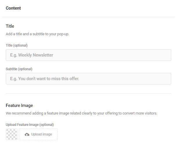 Content options in Hustle popup module