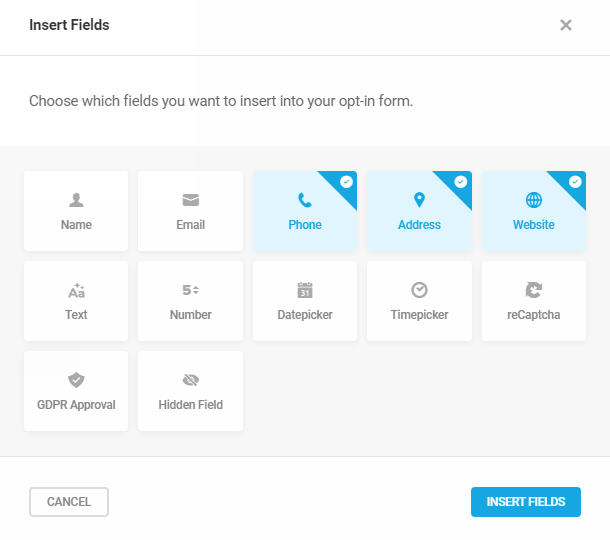 Select email fields to add to Hustle optin module