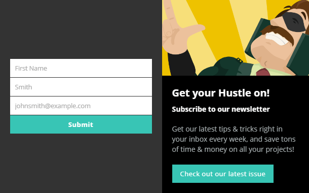 Opt-In Focus Hustle popup module layout