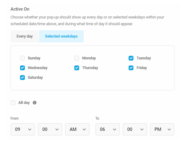 Adjust display days and times in Hustle module schedule