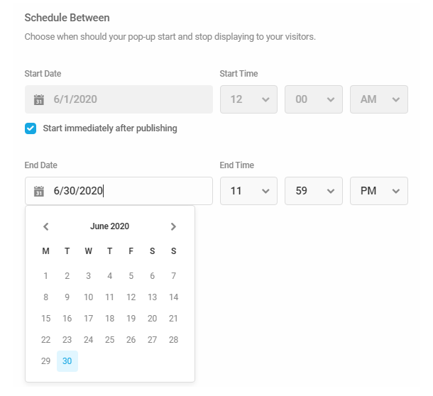 Set dates and times in Hustle module schedule