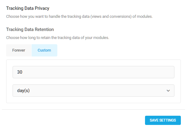 Conversion tracking data retention options in Hustle