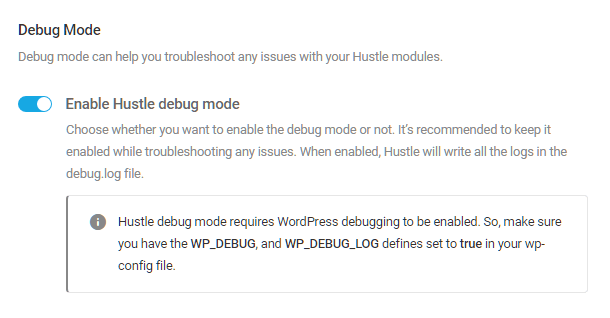 Enable debug mode in Hustle settings