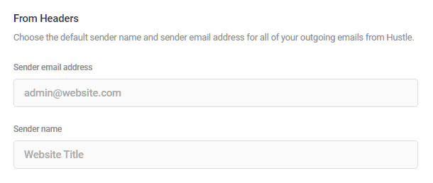 Email from header options in Hustle settings