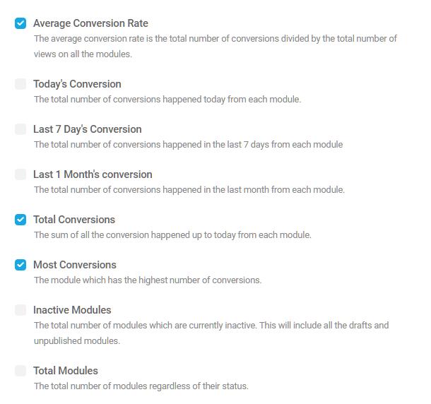 Optional top metrics for Hustle dashboard