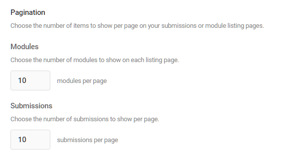 Module pagination options in Hustle settings