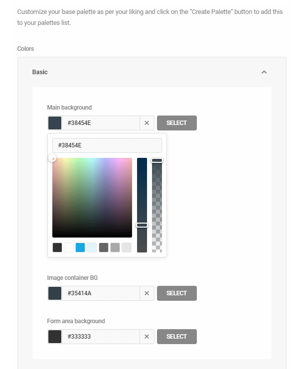 Customize a color palette in Hustle settings