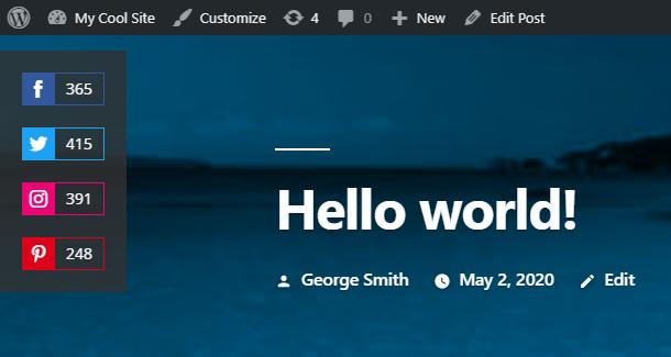 Example of Hustle floating social module on desktop screen