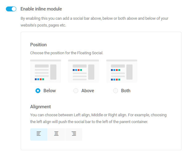 Display options for Hustle inline social module